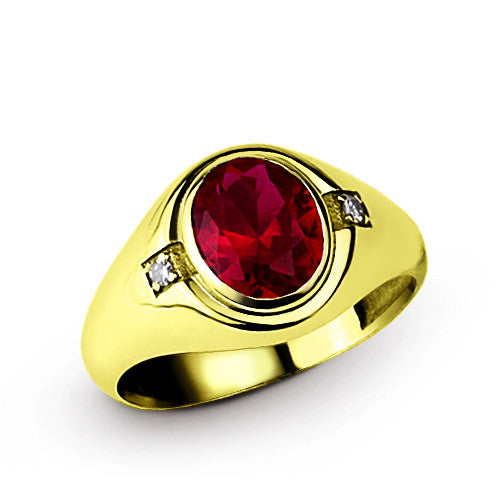 Ruby Men's Ring with Natural Diamond Accents in 10k Yellow Gold - J  F  M