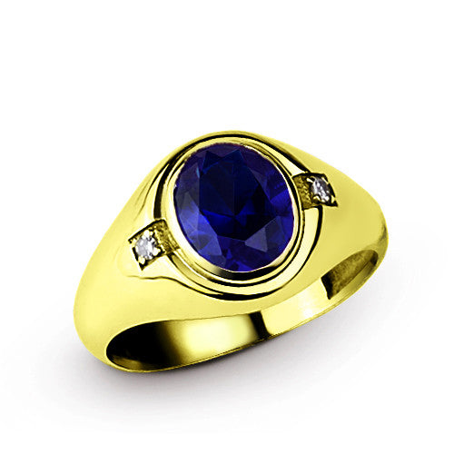 Sapphire Men's Ring with Genuine Diamonds in 10k Yellow Gold, Blue Gemstone Ring for Men - J  F  M