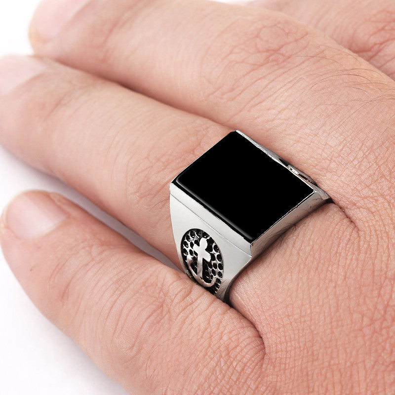 Men's Onyx Ring with Anchor In Sterling Silver Nautical Ring with Black Onyx Stone - J  F  M