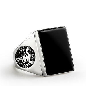 Scorpion Men's Ring In 925 Sterling Silver Biker Ring with Black Onyx Stone Rocker Jewelry - J  F  M