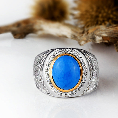 Sterling Silver Men's Ring with Natural Blue Turquoise Gemstone - J  F  M