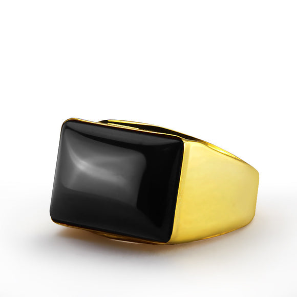 Men's Onyx Ring in 14k Yellow Gold, Natural Black Stone Ring for Men - J  F  M