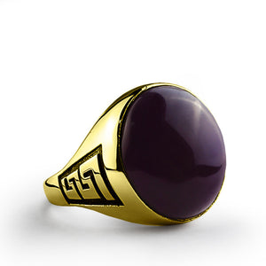 14k Gold Men's Ring with Purple Agate Natural Gemstone - J  F  M
