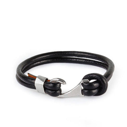 925 Sterling Silver Hook Clasp Men's Bracelet Genuine Leather - J  F  M