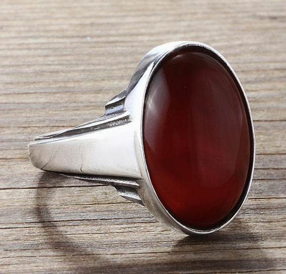Agate Men's Ring in Sterling Silver with Natural Red Gemstone - J  F  M