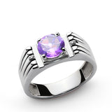 Men's Gemstone Ring with Purple Amethyst and Diamonds in Sterling Silver - J  F  M