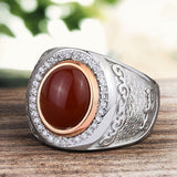Men's Gemstone Ring with Natural Red Agate Cabochon in 925 Sterling Silver - J  F  M