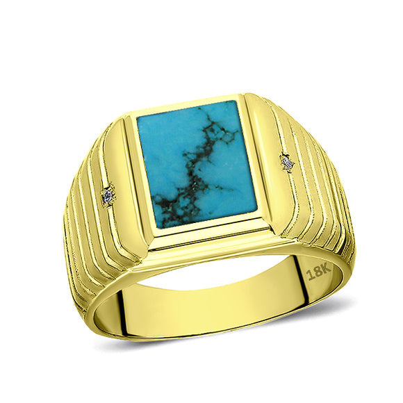 18K Real Yellow Fine Gold Turquoise Mens Ring with 2 Natural Diamonds Accents