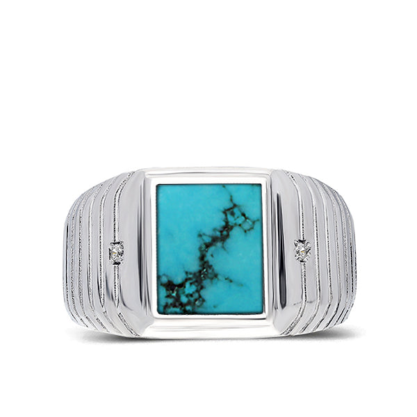 Mens Solid 14K White Gold Turquoise Ring 0.04ct Natural Diamonds Ring for Man