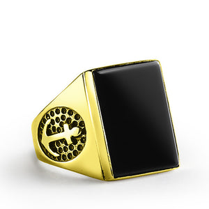 Anchor Ring in 10k Yellow Gold with Natural Black Onyx Stone, Nautical Signet Ring - J  F  M
