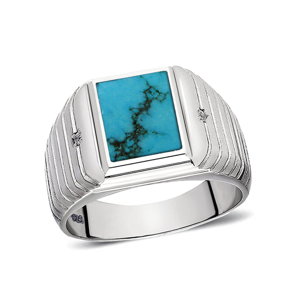 Natural Blue Turquoise Mens Ring with 2 Diamonds Real 925 Solid Sterling Silver