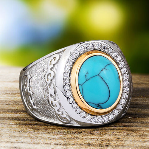 Men's Ring with Natural Blue Turquoise Cabochon in 925 Sterling Silver - J  F  M