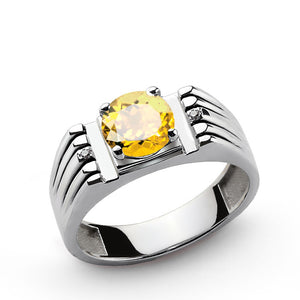 Men's Silver Ring with Yellow Citrine Gemstone and Natural Diamonds - J  F  M