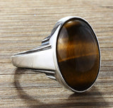 Men's Ring with Natural Brown Tiger's Eye Gemstone in Sterling Silver - J  F  M