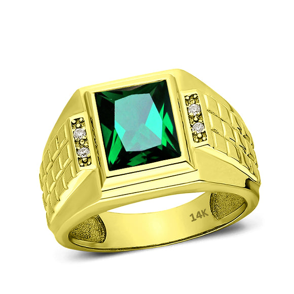Mens Real Solid 14K Gold Green Emerald Ring 4 Natural Diamonds Huge Ring for Men