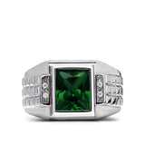 Perfect 14K White Gold Emerald Men's Ring 0.08ct Natural Diamonds Ring for Man