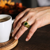 Mens Elegant Ring 18K Gold Green Emerald 4 Natural Diamonds Solid Ring for Man