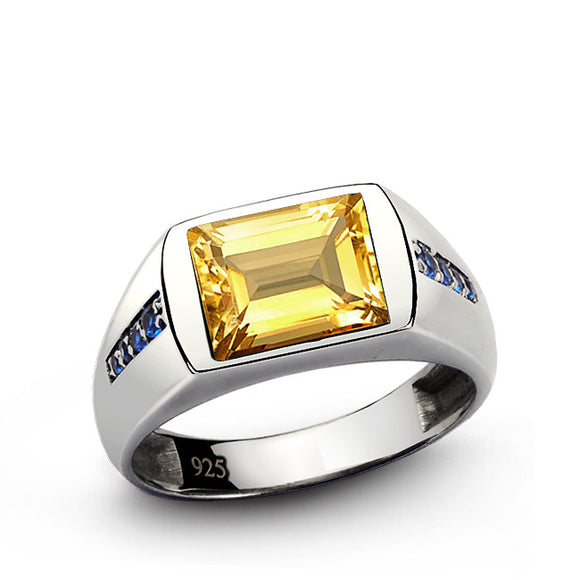Men's Classic Ring with Citrine Gemstone and Blue Sapphire Accents in 925 Sterling Silver - J  F  M