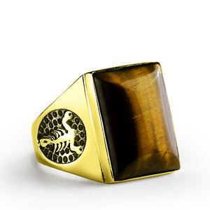 Men's Scorpion Ring in 10k Yellow Gold with Brown Tiger's Eye Natural Stone Biker Ring - J  F  M