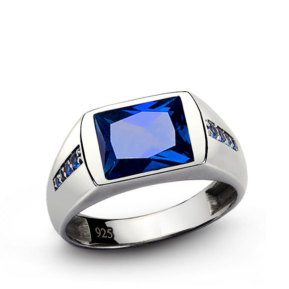 Classic Men's Ring with Blue Sapphires in 925 Sterling Silver - J  F  M