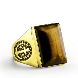Men's Ring with Anchor in 10k Yellow Gold with Brown Tiger's Eye Natural Stone - J  F  M