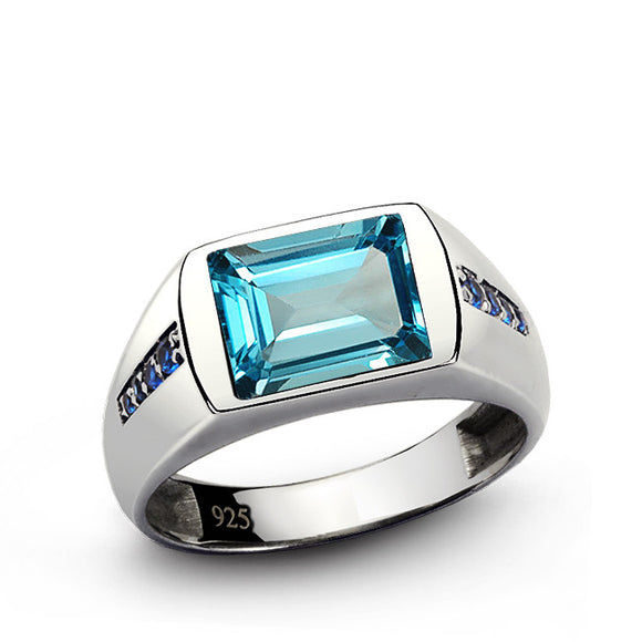 Blue Topaz Men's Ring with Sapphire Accents in 925 Sterling Silver - J  F  M