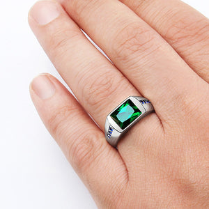 Men's Emerald Ring in 925 Sterling Silver with Blue Sapphire Accents - J  F  M