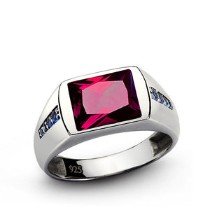 Red Ruby Men's Ring with Blue Sapphire Accents in 925 Sterling Silver - J  F  M