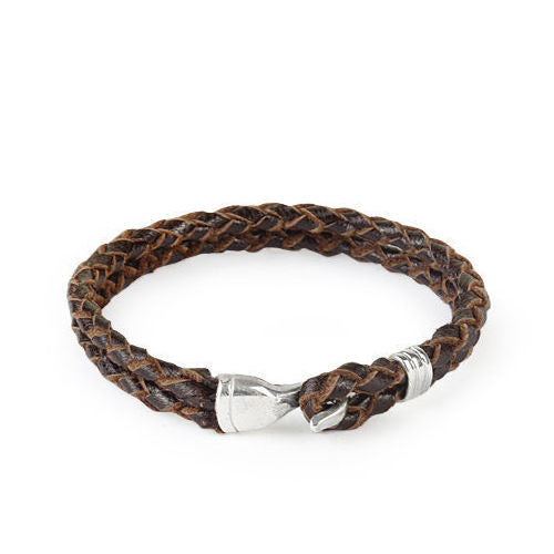 Men's Bracelet Brown Natural Leather with 925 Sterling Silver Clasp - J  F  M