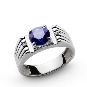 Men's Sterling Silver Ring with Blue Sapphire Gemstone and Natural Diamonds - J  F  M