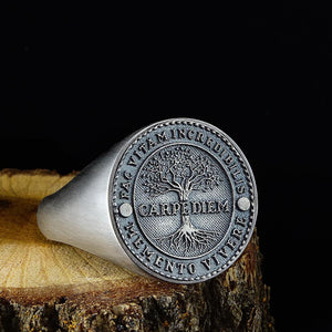 925 Sterling Silver Carpe Diem Inspirational Quote Mens Signet Wide Ring