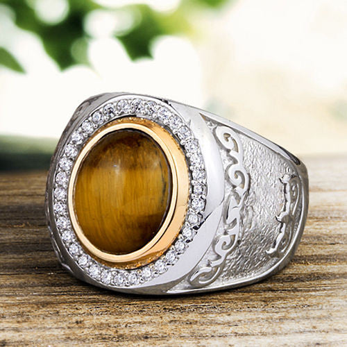 Men's Ring with Natural Brown Tiger's eye Gemstone in 925 Sterling Silver - J  F  M