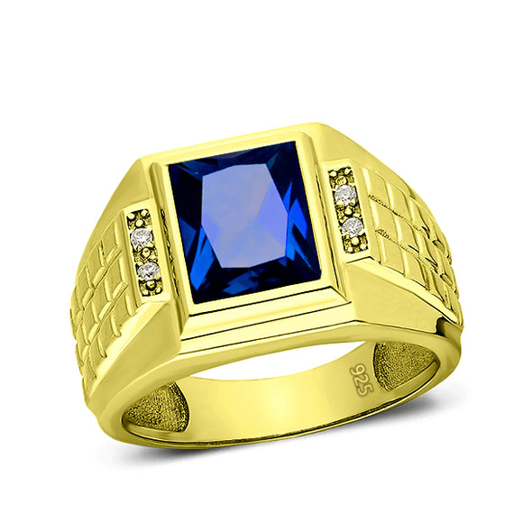 4 Diamond Accents 18K Gold Plated on 925 Solid Silver Mens Blue Sapphire Ring