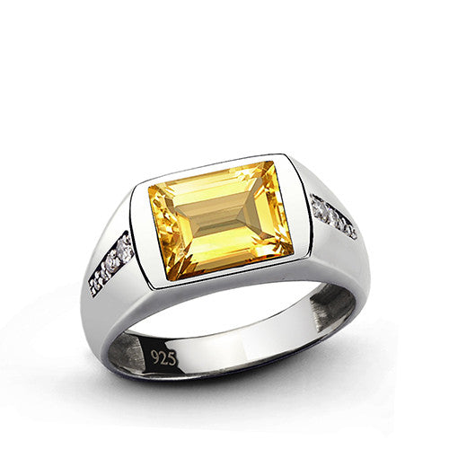 Men's Citrine Ring with Genuine Diamonds in 925 Sterling Silver - J  F  M