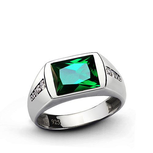 Men's Emerald Ring with Genuine Diamonds in 925 Sterling Silver - J  F  M