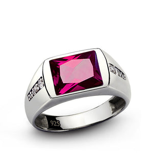 Men's Ring with Red Ruby and Diamonds in 925 Sterling Silver - J  F  M