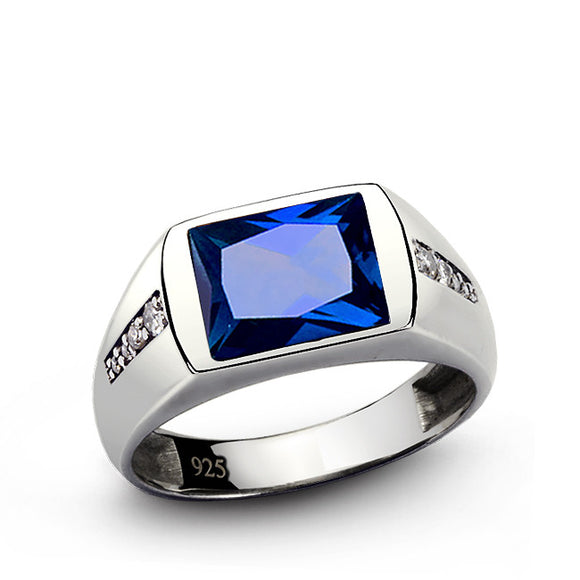 Men's Diamond Ring with Blue Sapphire in 925 Sterling Silver - J  F  M