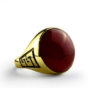 Men's Ring with Red Agate Stone in 10k Yellow Gold - J  F  M