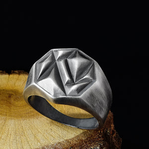 Solid 925 Oxidized Sterling Silver Octagonal Signet Mens Ring