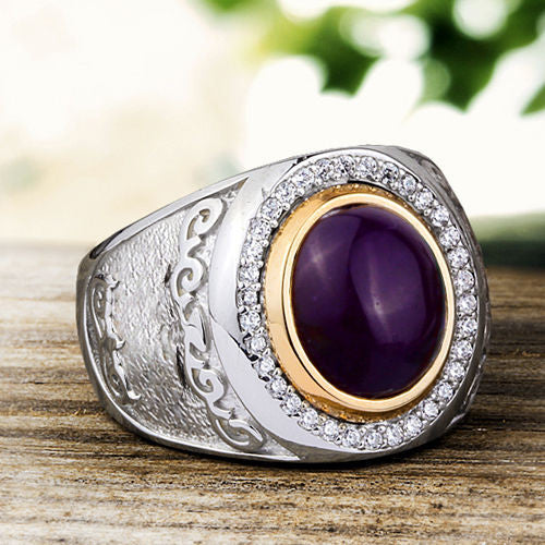 Natural Amethyst Gemstone Men's Ring in 925 Sterling Silver - J  F  M