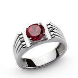 Men's Sterling Silver Ring with Red Ruby Gemstone and Natural Diamonds - J  F  M