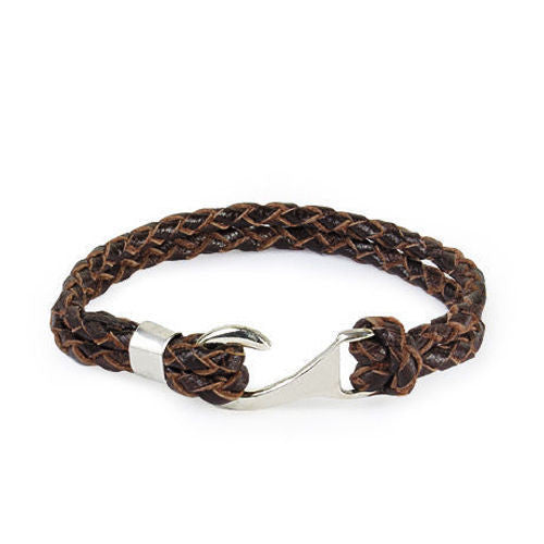Men's Bracelet Genuine Leather with 925 Sterling Silver Hook Clasp, Braided Bracelet for Men - J  F  M