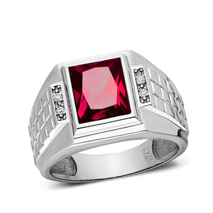 Ruby Mens Ring Real 4 Diamond Accents 925 Solid Sterling Silver Ring All Sizes