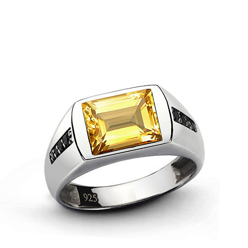 Men's Citrine Ring in 925 Sterling Silver with Black Onyx Accents - J  F  M