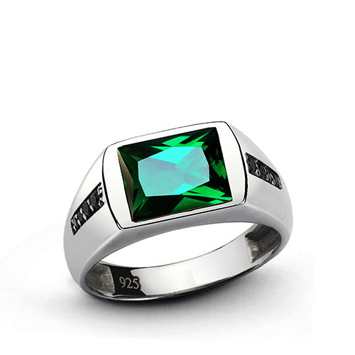Classic Men's Emerald Ring with Black Onyx Accents in 925 Sterling Silver - J  F  M