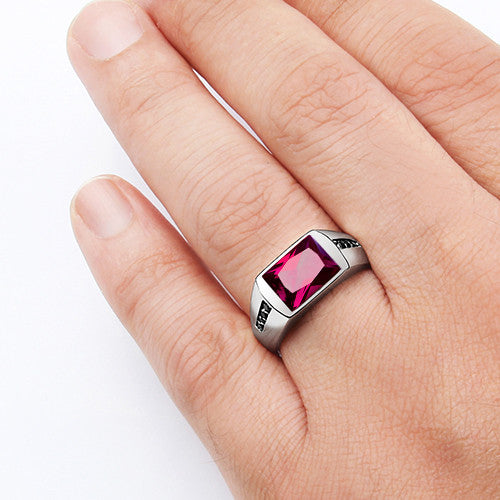Unique Classic Men's Ruby Ring in 925 Sterling Silver with Black Onyx  ZY36