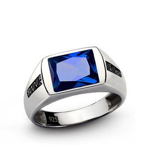 Men's Sapphire Ring with Black Onyx Accents in 925 Sterling Silver - J  F  M
