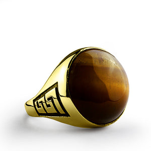 Men's Ring 10k Solid Gold with Tiger's Eye, Natural Brown Stone Ring for Men - J  F  M