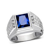 Real 925 Solid Sterling Silver Mens Blue Sapphire Ring 4 Diamond Accents All Sz