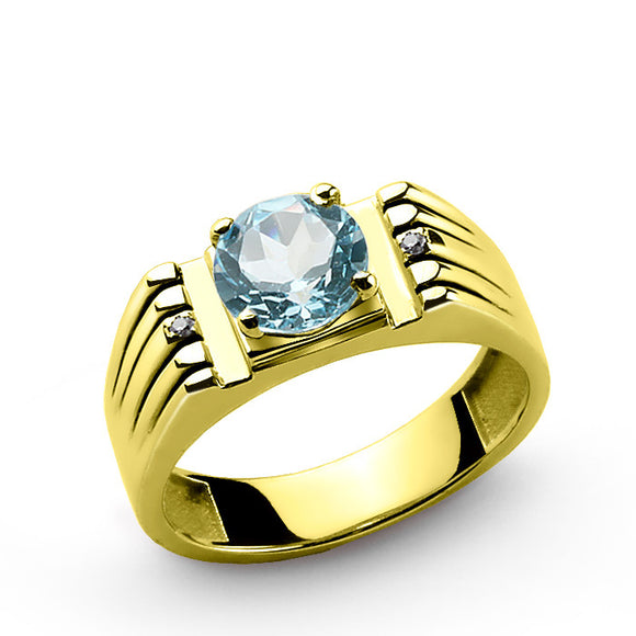 Blue Topaz Ring for Men in 14k Yellow Gold with Natural Diamonds - J  F  M